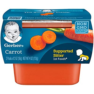 Gerber 1st Foods, Carrot Pureed Baby Food, 2 Ounce Tubs, 2 Count (Pack of 8)