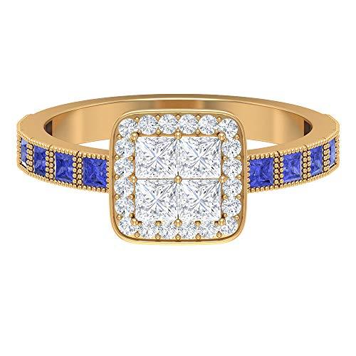 Anillo de diamante de corte princesa de 2,8 x 2,8 mm, 1,8 mm creado en laboratorio, anillo de compromiso solitario de oro (calidad AAAA), oro de 10 quilates azul