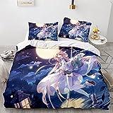 Proxiceen Juego de ropa de cama Anime de 135 x 200 cm, 3 piezas, funda nórdica con cremallera (estilo 5,135 x 200 cm + 80 x 80 cm x2)