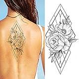 falsi fiori neri geometrici lotus lotus tatoos sticker realsitic tatuaggi temporanei bella impermeabile body art tatuaggi per le donne 19x9cm 5 pz