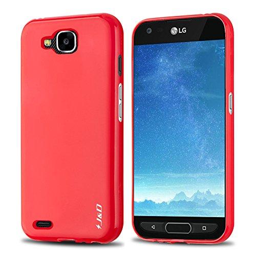 JundD Schutzhülle kompatibel für LG X Venture/LG X Calibur/LG V9 Hülle, [Fallschutz] [Slim Cushion] Stoßfeste Schutzhülle TPU Slim Hülle für LG X Venture, LG X Calibur, LG V9 Bumper Hülle - Rot