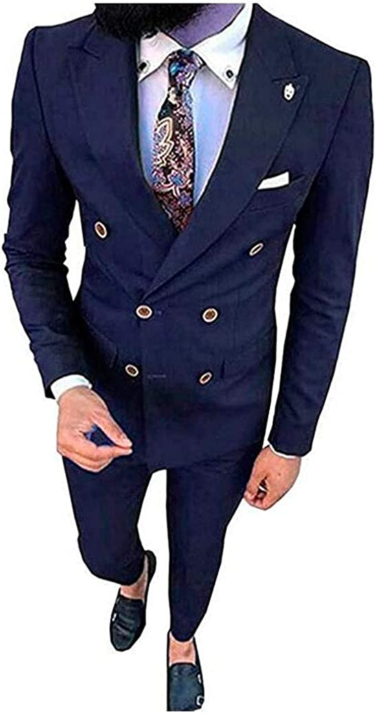 Men's Double Breasted Tuxedos 2 PC Slim Fit Men Suits Groom Tuxedos Business Prom Suits Dinner Suits