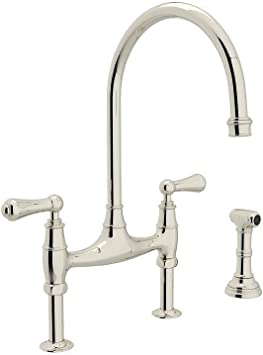 Rohl U 4719l Pn 2 Perrin And Rowe Bridge Style Kitchen Faucet With Sidespray Polished Nickel Touch On Kitchen Sink Faucets Amazon Com