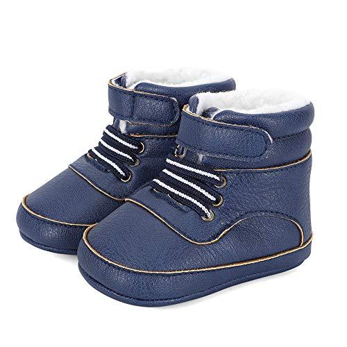 LACOFIA Dziecięce buty zimowe dla niemowląt, antypoślizgowe sznurki, kalosze śnieżne, niebieski - A Marineblau - 12-18 Miesi?cy