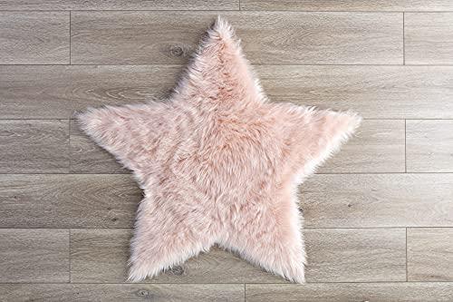 Faux Sheepskin Blush Star Area Rug