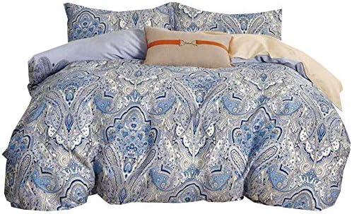 YIH 3 Pieces Blue Paisley Duvet Cover Set 100 Cotton Queen Size Soft Breathable Bedding Set product image