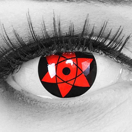 Meralens 1 Paar Farbige Anime Manga Kontaktlinsen Ohne Stärke mit gratis Kontaktlinsenbehälter - Sharingan Uchiha Naruto in rot schwarz perfekt zu Hereos of Cosplay, Halloween rote 12 Monatslinsen