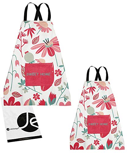 JAVOedge Lovely Mommy and Me Apron Cooking or Baking Apron with Pocket Great Gift For Mother and Daughters Matching Set (Adult + Kids (2-4 YRS OLD), Floral)