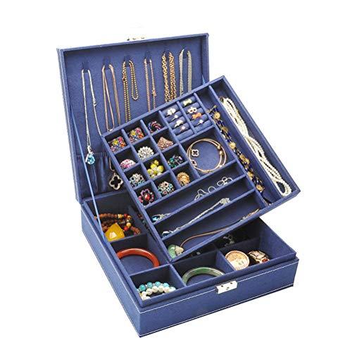 KUANPEY Caja de joyería para mujer, caja de joyería de dos capas con cierre (azul marino)
