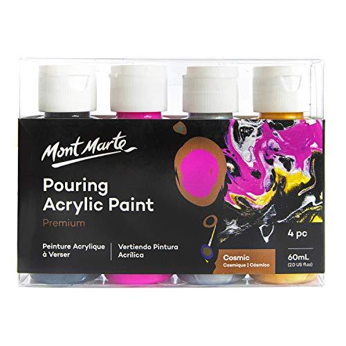 Mont Marte Pouring Set Kosmos – 4 Stück x 60ml – Acryl Pouring – Premium Acrylfarben mit Pouring Medium vorgemischt – Lampen Schwarz, Magenta, Silber, Gold