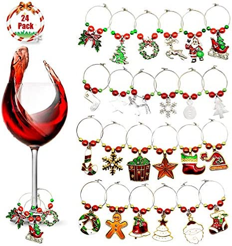 KEDERWA 24 Pack Wine Glass Charms Christmas Wine Glass Markers Metal Glass Ring Tags Xmas Gifts product image
