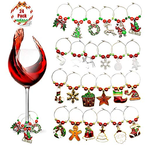 KEDERWA 24 Pack Wine Glass Charms, Christmas Wine Glass Markers Metal Glass Ring Tags Xmas Gifts for Wine Lover