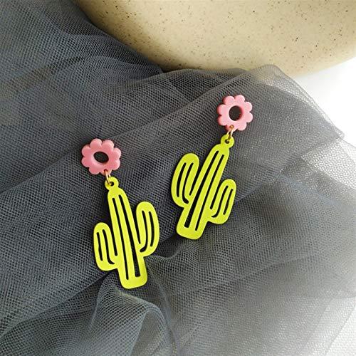 Pendientes de tuerca para mujer, diseño de cactus, bonitos y románticos, de resina geométrica, para mujer, accesorios de joyería (color del metal: A)