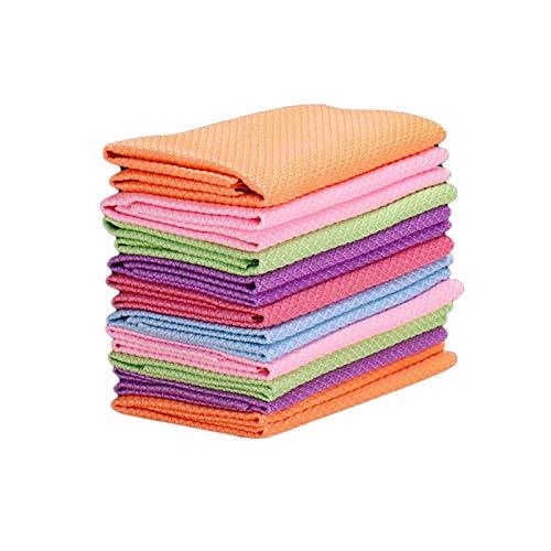 QLSN Paño De Cocina, Toallas Limpieza Extra Suaves Hogar, Muy Absorbentes Towels, Toallas Suave Duradero Diseño, Lavable Máquina Towels, Paño Multiusos Cocina 12 Pcs