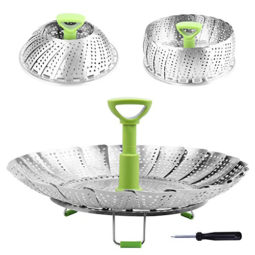 """Steamer Basket Stainless Steel Vegetable Steamer Basket Folding Steamer Insert for Veggie Fish Seafood Cooking, Expandable to Fit Various Size Pot (5.1"""" to 9"""