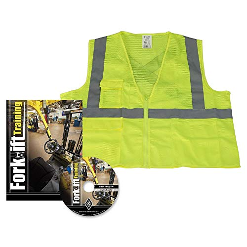 Forklift Training Bilingual DVD Video Kit + SAFEGEAR 5-pk. 2XL/3XL High Visibility Safety Vest (Type R Class 2 Polyester Mesh Lime/Yellow) - J. J. Keller & Associates