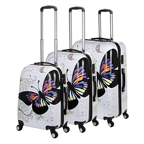 """Generic-20/24/71,12 (28 cm 3 pezzi Set di trolley a 4 ruote, colore: bianco/blu/rosa, motivo: farfalle, Set di trolley da viaggio Multicolore White butterfly 20""""/24""""/28"""" 3PCS Set"""