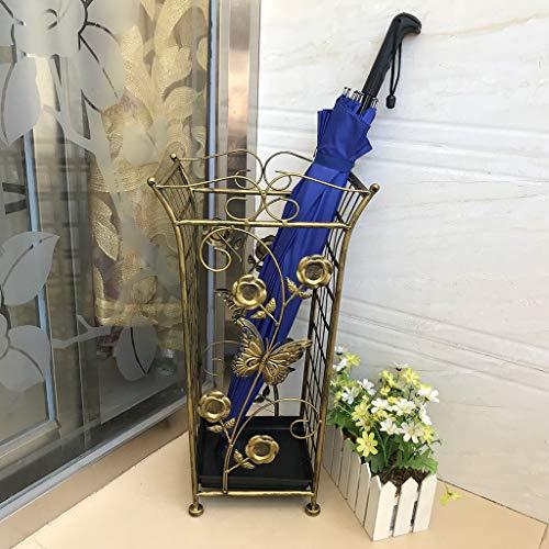 Umbrella Stand Antiker Metall-Regenschirmständer Freistehender Industrieller Regenschirmhalter-Regenschirmhalter mit Abnehmbarer Tropfschale und 4 Haken für Innenhof-Eingangsflur-Patio-Dekor