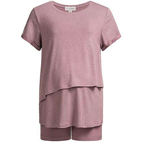 Herzmutter Stillpyjama Kurz - Umstandspyjama mit Muster - Still Schlafanzug Sommer - Pyjama-Set für Schwangere - Wochenbett - Schwangerschaft-Stillzeit-Stillfunktion - 2650 (L, Rosa/Tupfen)