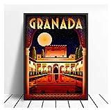 JCYMC Cuadro De Lienzo Alhambra Granada España Cartel De Viaje E Impresión Arte De Pared Digital Imágenes Vintage Decoración del Hogar Ky383Fa 40X60Cm Sin Marco