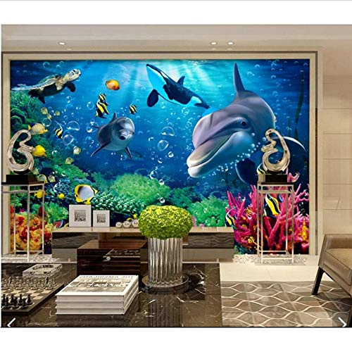 Mkkwp 3D Sea World Whale Fish Wallpaper Murales Para La Sala De Estar Mural De La Pared Calcomanías Rollos De Papel De Pared Impreso Personalizado Photo Wallpapers250Cmx175Cm