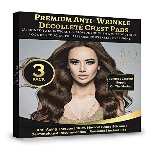 Chest Wrinkle Pads - 3 PACK - Anti Wrinkle Chest Pads, Decollete Pads for Chest Wrinkles, Silicone Chest Wrinkle Pads, Reusable Medical Grade Silicone Chest Pads Wrinkle Prevention, Wrinkle Derma Pads