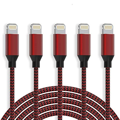 WUYA MFi certificado 5 unidades [10/6/3/3] Cable Lightning trenzado extra largo de nailon de carga rápida y sincronización USB para iPhone 11Pro Max/11Pro/11/XS/Max/XR/X/8/8P/7 y más