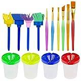 Xpassion Pinceles de Acuarela, 4 Piezas Botes de Pintura a Prueba de Derrames con Tapa en 4 Colores y Set de 6 Piezas Pinceles de Colores Surtidos Pinceles de Pintura para Niños