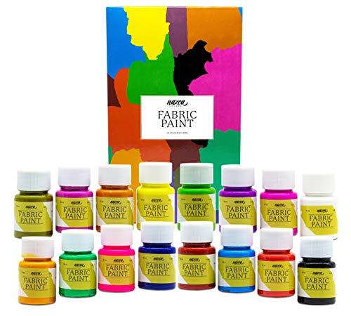 Pintura Textil Permanente y Lavable Nazca Colors – Set 16 Colores x 30ml – Pintura Acrílica para Tela ideal para Pintar Ropa, Camisetas, Vaqueros, Zapatillas, Accesorios Textiles – Excelente Cobertura