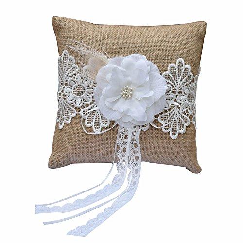 Awtlife - Cojín de arpillera para anillo de boda con encaje rústico vintage (20 x 20 cm)