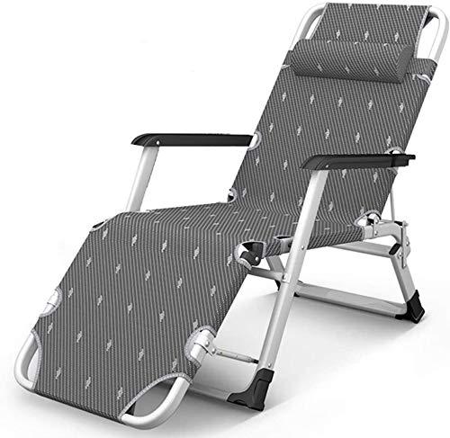 Sillón reclinable al aire libre Camping silla, soporte de alta resistencia, estructura de acero de gran tamaño, butaca tapizada plegable con portavasos plegable, silla de cuatro atrás, al aire libre p
