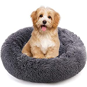 jincheng Calming Dog Bed Cat Bed Donut, Faux Fur Pet Bed Self-Warming Donut Cuddler, Comfortable Round Plush Dog Beds for Large Medium Small Dogs and Cats (24″/32″/40″)