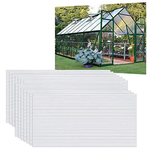 UISERBT 14x Polycarbonat Hohlkammerstegplatten 4mm - 10,25 m² Doppelstegplatte 60,5 x 121 cm UV-beständigen für Gewächshaus Gartenbau Carports usw (Transparent)