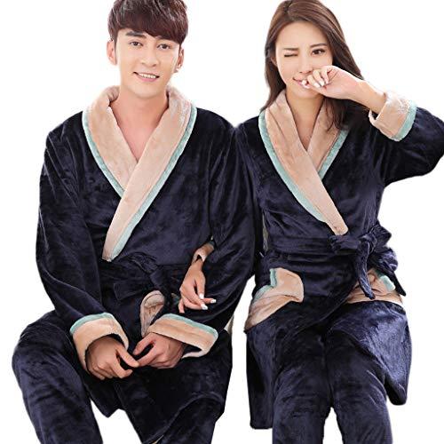Unbekannt LINGZHIGAN Dicker Flanell-Paar-Nachthemd-Klage-weiblicher Langer Bademantel-Männer Pyjamas Coral Velvet Robe (Design : Men, größe : M)