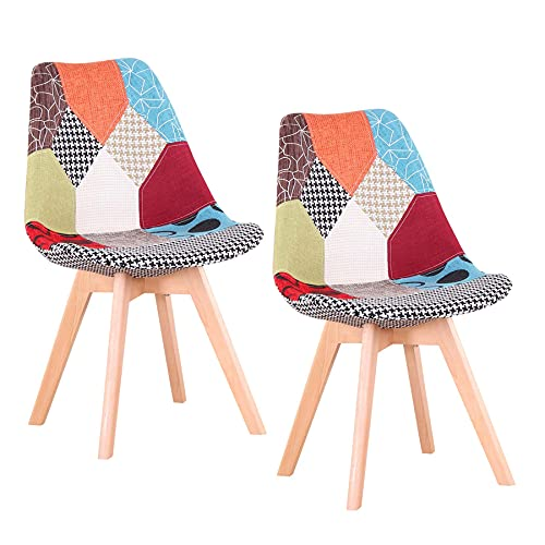 GrandCA Home Conjunto de 2 sillas, Silla de Comedor, Silla de tulipán de Estilo nórdico, Adecuada para Sala de Estar, Comedor (2 sillas