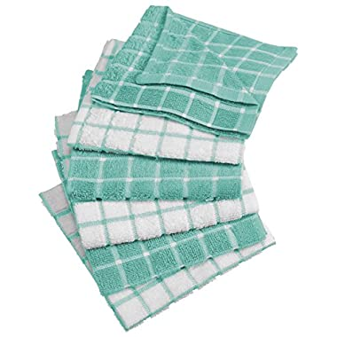 DII Cotton Terry Windowpane Dish Cloths, 12 x 12  Set of 6, Machine Washable and Ultra Absorbent Kitchen Dishcloth-Aqua