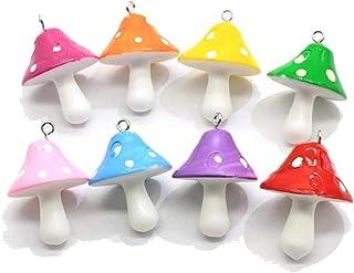 8 قطع صغيرة ملونة الفطر قلادة سحر لطيف مصغرة الخرز نمط شروم الحلي DIY التموين القرط قلادة قلادة للنساء الفتيات المجوهرات