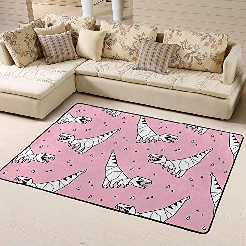 Kcmical Alfombra de área Alfombras Alfombra de Origami Blanco Dinosaurios Rex en Azulejos de Dibujos Animados Rosa para Sala de Estar Dormitorio