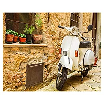 16x20  Vintage Scene with Vespa on Old Street Tuscan Scene Stock Pictures Paint by Numbers Kits for Adults Kids DIY Wall Art Picture Framed Canvas Oil Painting Set Digital Paintworks for Beginners