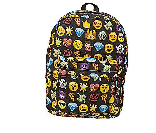 SAMGU Zaino Donne Zaino Viaggio Borsa Backpack Emoji Scuola colore nero