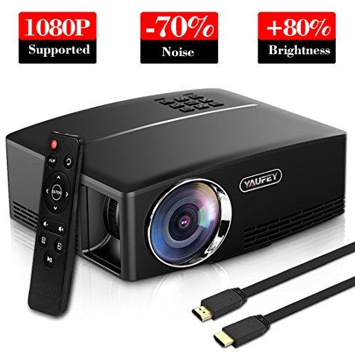 yaufey Video Proiettore Portatile, Mini Proiettore LCD Supporto 1080P HD HDMI VGA USB AV Interfaccia, Collegamento Proiettore per PC TV Stick Gioco Telefono (Tablet) Laptop, con Cavo HDMI e AV, Nero