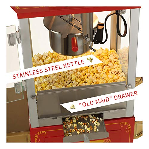 Product Image 2: Funtime FT860CR Antique Carnival-Style 8-Ounce Hot-Oil Popcorn Popper with Cart, Red