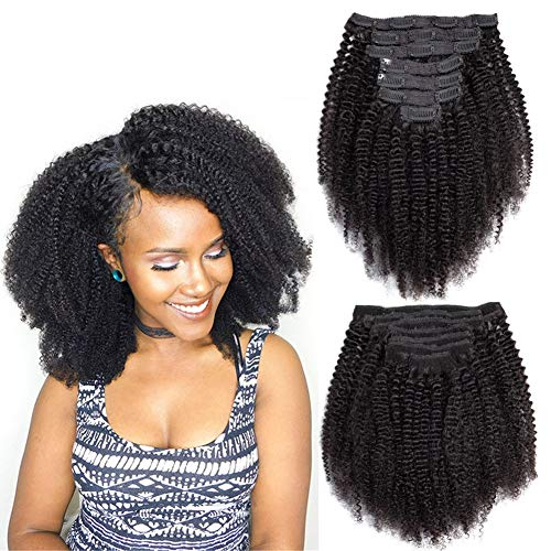 "Comely Hair Afro Kinky Curly Clip Ins Human Hair Extensions Full Head Thick Unprocessed Brazilian Virgin Hair 4B 4C Clips In For Black Women Double Weft 7Pcs/90Grams (afro curly 10"")"