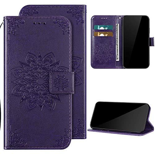 Kompatibel mit Huawei P30 Pro Hülle Ledertasche Klapphülle Brieftasche Schutzhülle,QPOLLY Blumen Muster PU Leder Handytasche mit Kartensteckplatz Geldbörse Flip Case Handyhülle,Lila