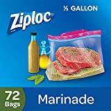 Ziploc Marinade Bags, Expandable Bottom with Easy Open Tabs, Half Gallon, 24 Count, Pack of 3 (72 Total Bags)