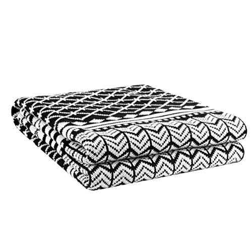 マルチカバー 毛布 ブランケット 長方形 北欧風 フリンジ付き シングル 綿 おしゃれ ベットカバー ソファカバー (ブラック, ホワイト,130cm X 150cm)
