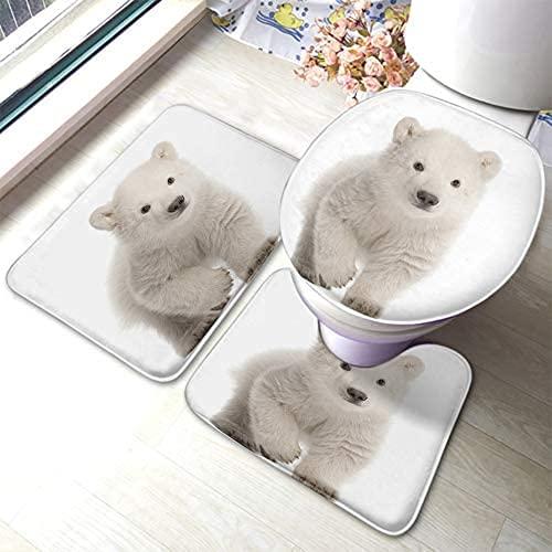 LuckyTagy Polar Bear Bath Mat Wild Animals Cute Arctic White Furry Bears Cub Bathroom Mat Set 3 Pieces Rug Toilet Seat Lid Cover Non Slip Mat Anti-Skid Pad