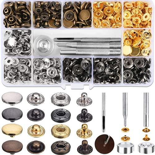Qoosea Botones Presión Metalicos 120Set Corchetes Presion Metal Artesanía + 4PCS Herraminetas, Botones Automáticos, 12,5mm para Ropa, Jeans, Bolsos (12.5mm)