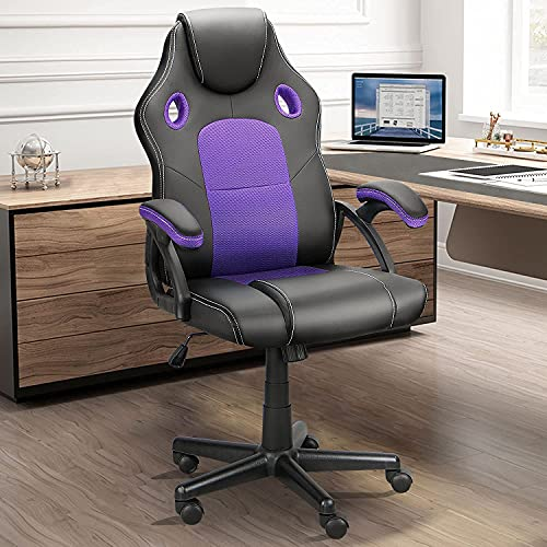 Ninecer Ergonomic Gaming Chair Purple, High Back Racing Style Cheap Office Chair, Comfortable Armrest PU Material Height Adjustable Adult/Teens Silent Roller (Purple)