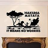 Hakuna Matata significa que no hay preocupaciones Película de dibujos animados Rey León Smiba Pumba Timon Etiqueta de la pared Calcomanía de vinilo Niño Niños Dormitorio Sala de estar Sala de jue